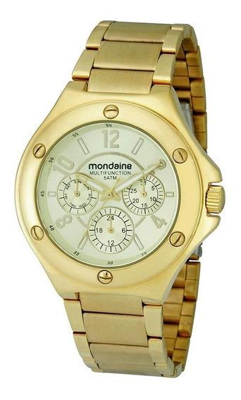 Relógio Mondaine Feminino Multifunção Dourado 94493lpmgds3