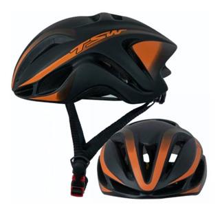 Capacete Tsw Team Plus 57-61 Laranja Bike Bicicleta Speed