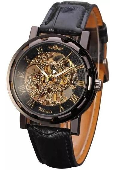 Relógio Masculino Esqueleto Semi Automático À Corda Preto