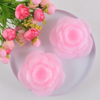 Caixa 3 Peças Vela Flutuante Flor Rosa Claro Para Eventos