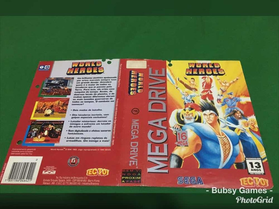 Encarte Mega Drive Original World Heroes .