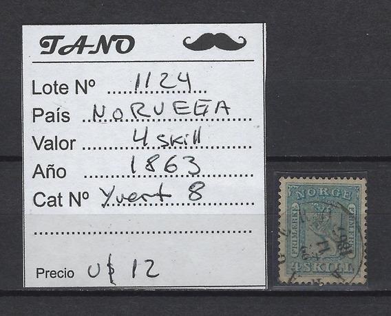 Lote1124 Noruega 4 Sk Año 1863 Yvert# 8