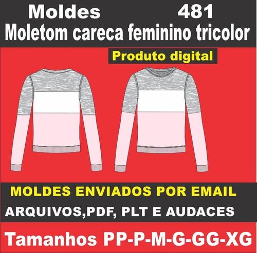 Moldes De Moletom Careca Tricolor Feminino