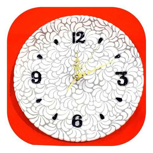 Imagen 1 de 1 de Reloj Blanco De Talavera Poblana Barroco 30 Cm Rjl