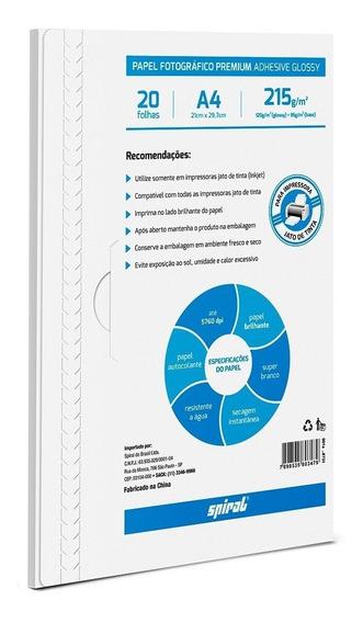 Papel Fotográfico A4 215g Glossy Paper Adesivo Novo Lacrado