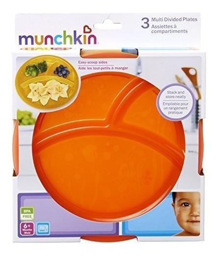 Pratos Munchkin Com Divisórias Kit Com 3 Bpa Free Coloridos