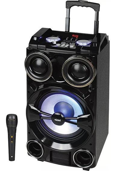 Caixa De Som Amplificador Bivolt Bluetooth Microfone Karaokê Vicini 300w Potente
