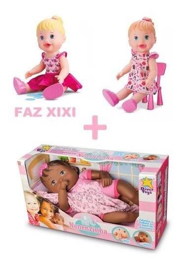 3 Bonecas My Little Faz Xixi + Lanchinho + Nenzinha Negra