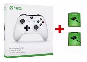 Controle Xbox One S Branco Entrada P2 Original + 2 Baterias