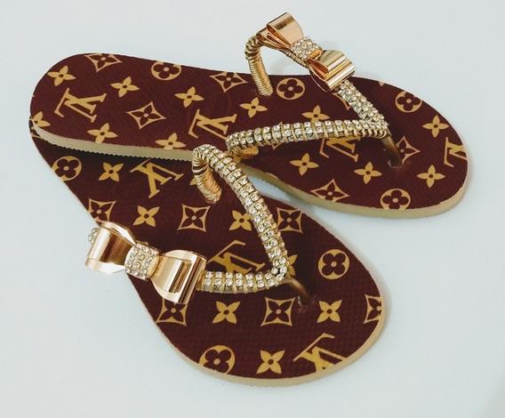 Sandálias Chinelos Havaianas Decorados Customizados Lv