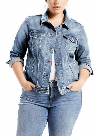 Jaqueta Levis Feminina Trucker Plus Size Azul Claro