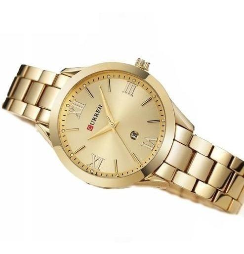 Relógio De Pulso Feminino Quartzo Dourado Luxo Curren