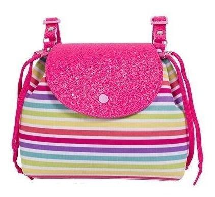 Bolsa Infantil Princesa Pink Mochila Listrada Tampa Glitter