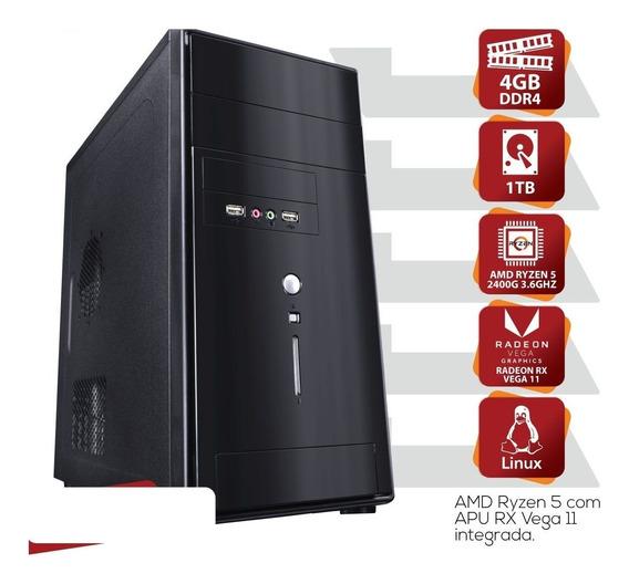 Computador Amd Ryzen 5 2400g 3.6ghz Mem 4gb Ddr4 Hd 1tb Hdmi/vga Fonte 200w Linux - Mvlir5a3201t4
