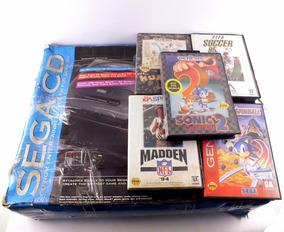Video Game Sega Cd Genesis C/ 2 Controle E 5 Jogos A8723