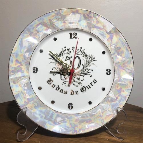 Imagem 1 de 5 de Relógio Relevo Para Bodas De Ouro - O519