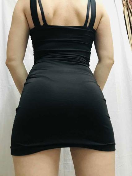 Vestido Negro Ajustado Apretado Sexy Animal Print Lycra