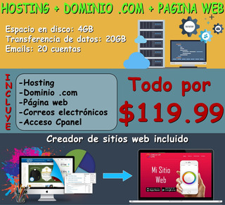 Páginas Web Ecuador + Hosting + Dominio