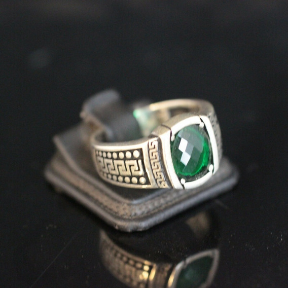 Anel Maculino Em Prata 925k Joia Em Pedra Esmeralda (verde)