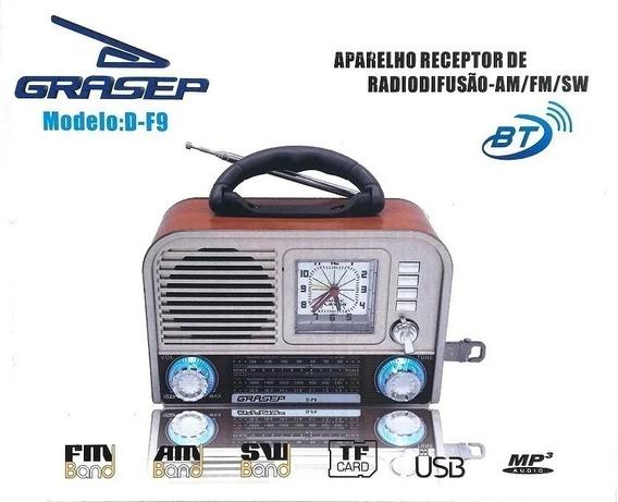 Rádio Retrô Analógico Grasep D-f9 Am / Fm / Sw Integrado