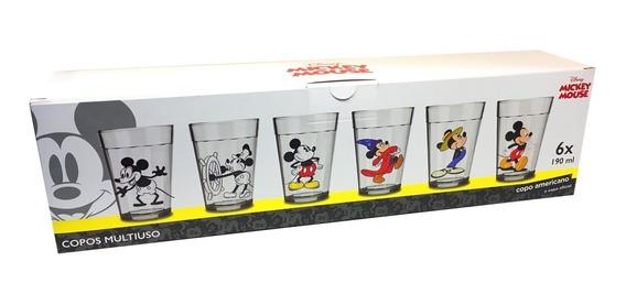 Conjunto Mickey 6 Copos Americanos Coleção 90 Anos Original