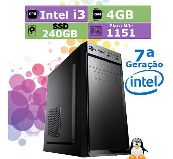 Pc Cpu Home 7ª Geração Intel Core I3 7100 4gb Ssd 240gb