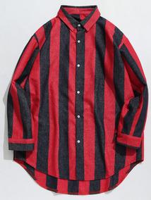 Contrastar Vertical Raya Dobladillo Curvo Casual Camisa