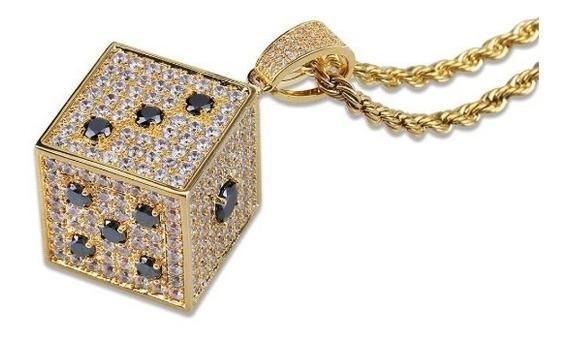 Collar Dije Dado Diamantado Cadena Torzal Oro Laminado