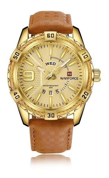 Relógio Naviforce 9117 Semana Couro Luxo Masculino Esportivo
