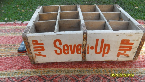 Antiguo Cajón De Seven Up 7 Up Madera Para 12 Botellas