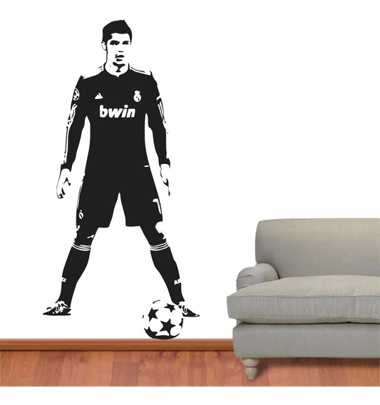 Adesivo Parede Futebol Real Madri Cristiano Ronaldo Cr7 Bola