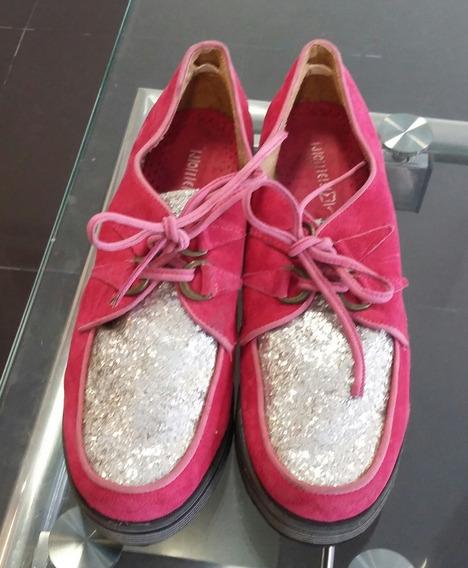 Zapatos Creepers Fucsia Gamuza Con Brillos Plata Joies Nª39