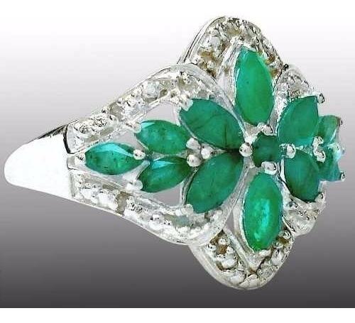 Anel De Prata 925 Com Esmeraldas E Diamantes - Aro 19