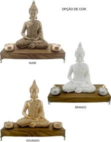 Buda Tibetano Meditação C/ Porta Vela E Aparador- Hindu