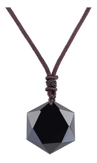 Colar Obsidiana Hexagonal Cristal Vulcânico Precioso Natural