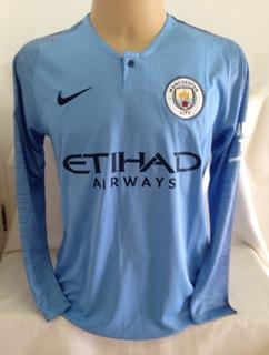 Camisa Manchester City Mangas Longas #10 Kun Agüero - Tam P