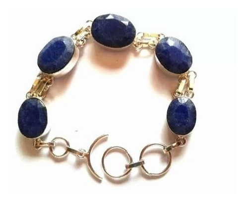 Pulseira Bracelete Feminina Prata 925 Pedras Safira Indiana