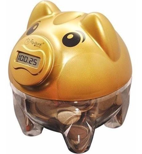 Cofre Cofrinho Porquinho Digital Pigbank Conta Moeda Dourado