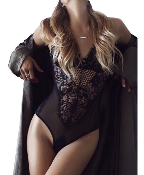 Lenceria Traje Completo Encaje Bodysuit Negro Sexy Corset