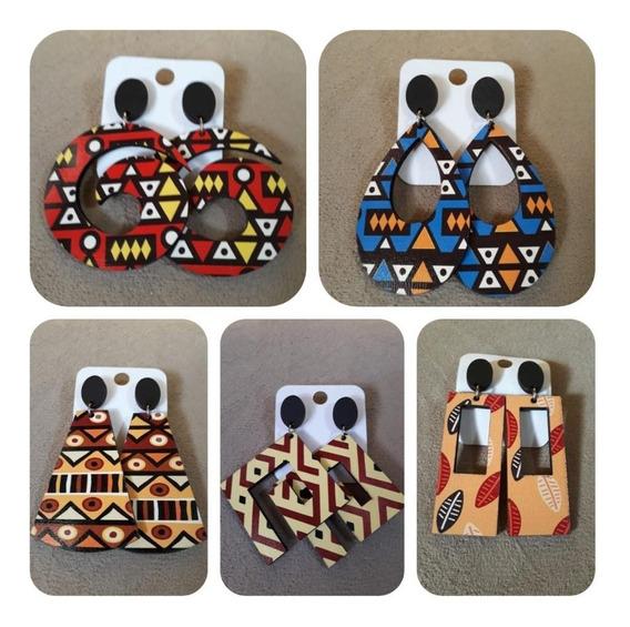 Kit Com 12 Pares De Brincos Afros Geométricos