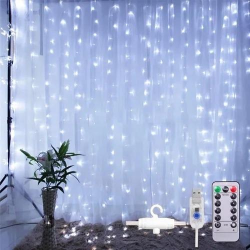 Imagen 1 de 8 de Decorativas Cortinas Luces De Navidad 300 Leds 8 Modos 3x3m