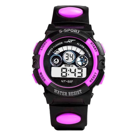 Relógio Infantil Esportivo Digital Roxo C/luz Unissex