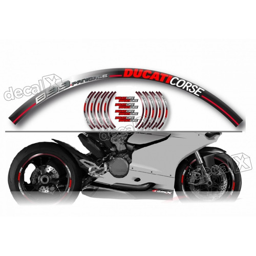 Kit Adesivo Friso Refletivo Roda Moto Ducati Fri21