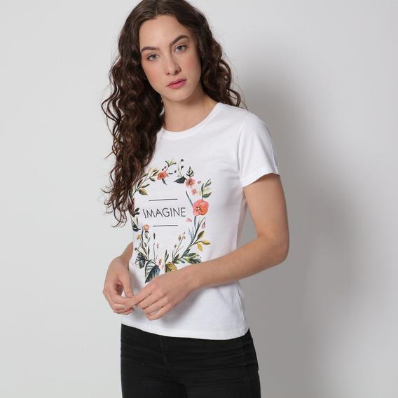 Playera Blanco Con Estampado Floral