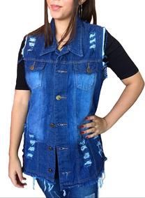 Colete Jeans Feminino Maxi Comprido Impostado Moda 2019