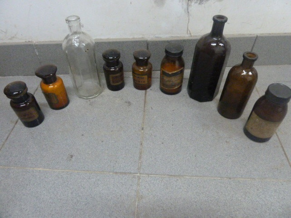 Antiguas Botellas Frascos Remedio Farmacia Jarabe Medico