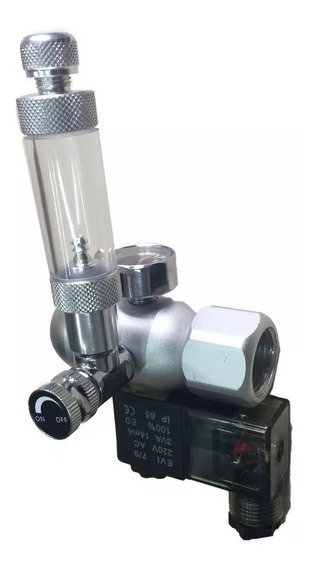 Válvula Reguladora De Co2 Soma Com Um Manômetro Conta Bolha E Solenoide 110v