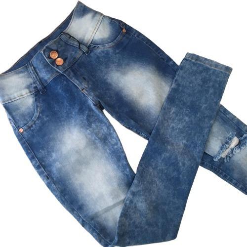 Calça Jeans Feminina Rasgada Skinny Com Elastano Promoção
