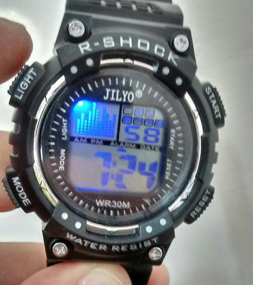 Relógio Digital Led Troca De Cor Cronômetro Alarme