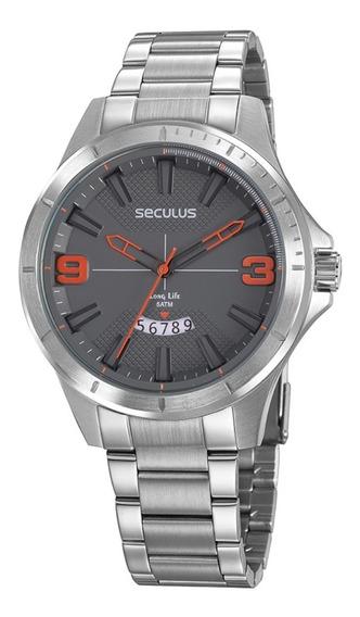 Relógio Masculino Seculus Aço Visor Texturizado Prata